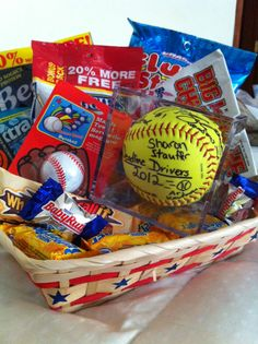 "Gift for Coach  ""We SKOR'd big having you as a coach.  You stuck with it, despite our WHATYOUMACALLIT swings and BUTTERFINGERS in the field.  You know we aren't BABY RUTH'S!  We appreciate you never being JERKY (beef jerky) or CHEWing (big league chew gum) us out.    Thank you for all the EXTRA (gum) effort you put in.  I don't want to fill this thank you up with FLUFFY STUFF (cotton candy) but you really planted the SEED (sunflower) of teamwork weneeded.  We had a ball (signed by team)."