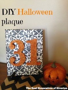 This DIY Halloween Plaque is the perfect addition to your Halloween decor - bonus points for being fast, easy, and incredibly inexpensive!!  Come check it out at www.housewivesofriverton.com