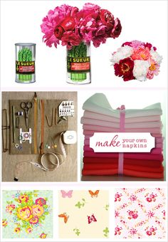 DIY, Do It Yourself, Make your own napkins, napkins, wedding flowers, Vases, cans, Arrangement