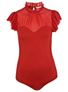 Miss Selfridge Red Chiffon Ruffle Body