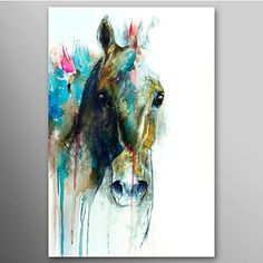 Hand Painted Oil Painting Animal Abstract Horse Head with Stretched Frame Ready to Hang – USD $ 79.99
