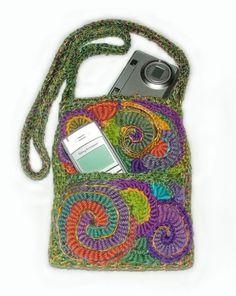 freeform crochet OOAK bag, Renate Kirkpatrick