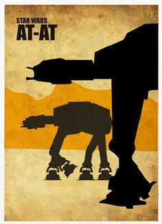 """Star Wars AT-AT A3 Poster Vintage Print"" by Marcus ""Posterinspired""; $18"
