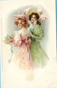 S2584 Meissner and Buch postcard of 2 beautiful women#1068, U/B, Unused