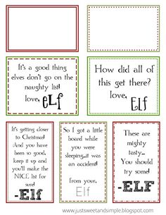 Printable Elf on the Shelf Notes