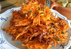 Ukoy: Crispy fritter with shrimp. It can be made with grated squash, sweet potato, bean sprouts, or green papaya. Perfect when dipped in spicy vinegar.