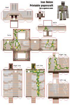 minecraft printables | Your own Iron Golem Minecraft printable papercraft cutout
