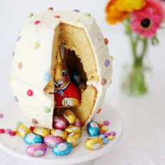 Colorful Dotted Easter Egg Cake
