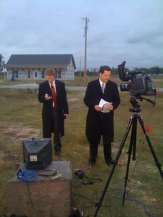 Craig Ford and Matt Laubhan preparing for their live shot in Smithville.