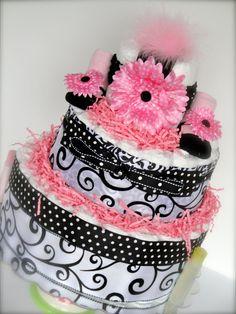 Diaper Cake  Black White/ Pink Elegance