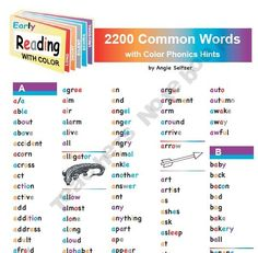 2200 Words with Color Phonics Hints for Reading & Spelling