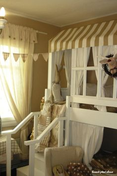 With two toddler girls and a baby on the way I love this idea for beds
