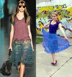 Blue crochet skirt inspired by Etro.