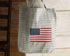 DIY American Flag Stenciled Tote Bag