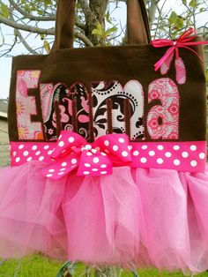 Big Letter Personalized Ballet Tutu Tote - Full skirt , Bow with Gem - Ballet Bag, Dance Bag, Ballerina Bag, Custom Ballet Bag