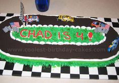 NASCAR Birthday Cake, this one uses oreos for the road and white lifesavers for the tires that surround the track as the barrier.