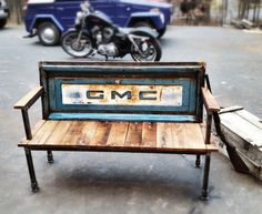 Classic GMC, Ford, Chevy, Dodge pickup tailgate benches.  Brings back memories!