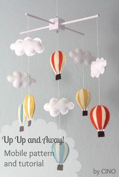 So cute! Hot air balloon and cloud mobile