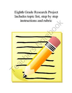 8th Grade Research Project from Librarian Vickie on TeachersNotebook.com -  (14 pages)  - 8th grade research project. Project follows the Big 6 Research model. Project includes a list of topics as well a grading rubric.