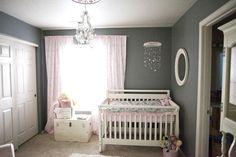 wall colors, shabby chic, girl nurseries, gray walls, baby girls