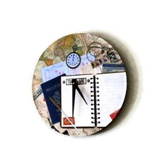 Unique Wall Clock Travelers Clock Recycled Art Wall by Shannybeebo, $47.00