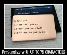Copper Wallet Insert Card - Anniversary Gift for Men - Personalized Hand Stamped Metal - UP TO 75 Characters - Husband Boyfriend 7 Year on Wanelo