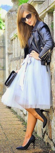 Baby Blue Organza Midi Skirt