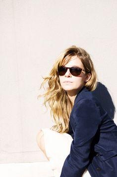 wavy hair, sunglasses & navy jacket #style #fashion