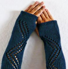 Knit Fingerless Gloves Knit Arm Warmers Fingerless Mittens Knit Hand Warmers Gauntlets Knit Wrist Warmers Indigo Blue Lace. $27.50, via Etsy.