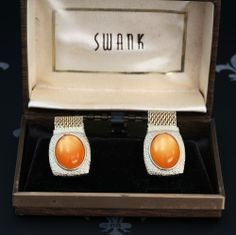 SWANK Vintage Gents Gold Mesh Wraparound Cufflinks Orange Stones Original Box