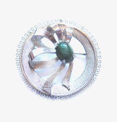 Vintage Green Jade Brooch, Silver Pin