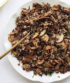 Wild Rice and Mushroom Pilaf- To make it healthier I omitted the butter and only used 1 tablespoon of Olive Oil.