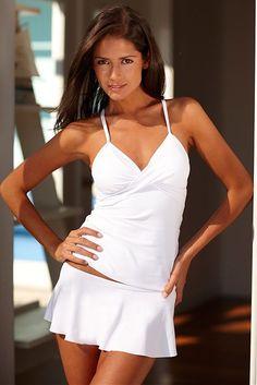 White Twist Tankini Top >> Pretty!