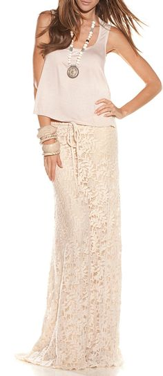 B☮H☮ Babe • cream-colored lace skirt + wide hem top + statement jewelry