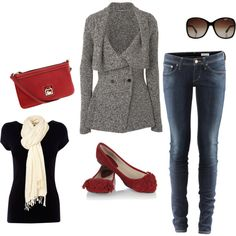 Love a splash of Red! jean, jacket, sweater, alexander mcqueen, red shoes, flat, outfit, polyvore fashion, red black