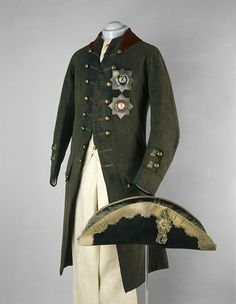 Coronation uniform of Paul I, Russia, 1796. Wool coat and waistcoat, elkskin trousers and felt hat.