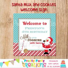 SANTA MILK & COOKIES welcome sign  You by PrettyPartyCreations