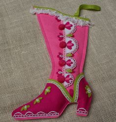 Vintage Felt Christmas Stocking Pink Boot