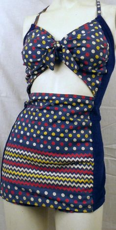 Vintage 1940s Pin-Up Polka Dot Swimsuit With Front Cut Out