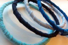 upcycled tshirt bracelets--blues
