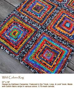 Here is a way to use up some of your fabric stash - luv this Hook and Latch rug