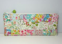 Liberty patchwork quilt pencil case pouch - front