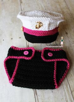 Crochet Marine Corps Dress Blues Cover and Diaper Cover set, Baby Girl Hat, Pink Baby Hat Photography prop