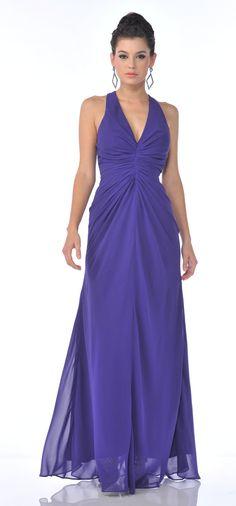 Classic Purple Dress V-neckline Halter Strap Full Length Chiffon $105.99