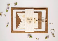 wedding invitation - rustic wedding invitation - striped wedding invitation - lemon kraft white on Etsy, $6.05