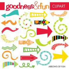 Buy 2 Sets, Get 2 Sets FREE - Digital Clipart - Arrows of Fun arrows, plantilla, clipart