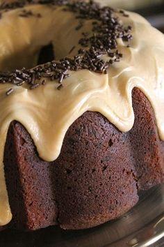 Chocolate Banana Bread Cake with Peanut Butter Glaze