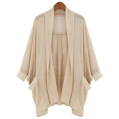 New Style Casual 3/4 Sleeve Cardigan Chiffon Coat For Women ❤ liked on Polyvore