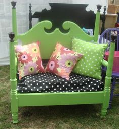 twin headboard and foot board re-purposed into a settee for a little girls room - very cute!