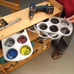 #DIY : Hardware Bins Made from Muffin Tins | The Family Handyman - This inexpensive workshop storage solution is perfect for fasteners, electrical parts and small, miscellaneous doodads, and it takes up almost no space.